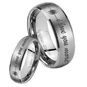 His Hers Sound Wave, I love you more Dome Brushed Tungsten Anniversary Ring Set
