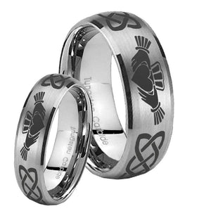 Bride and Groom Irish Claddagh Dome Brushed Tungsten Mens Ring Personalized Set