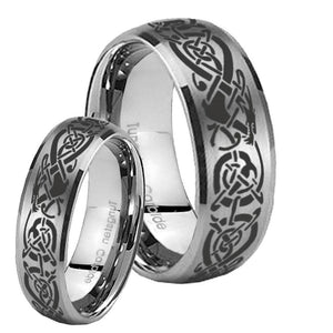 Bride and Groom Celtic Knot Dragon Dome Brushed Tungsten Promise Ring Set