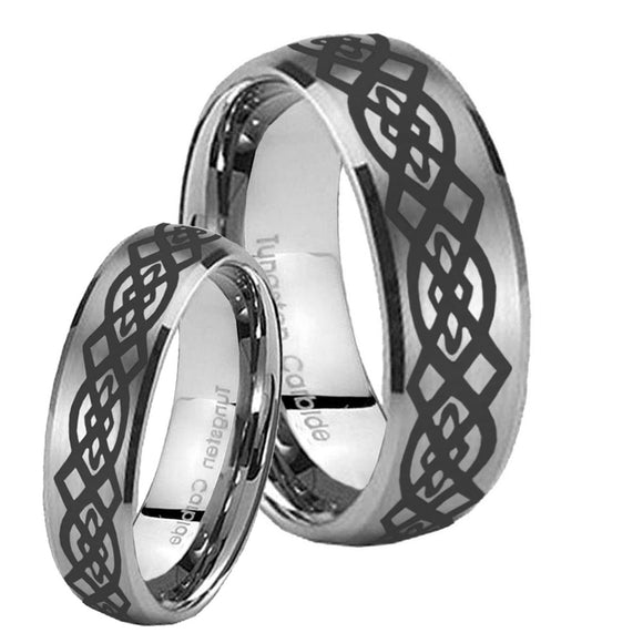 Bride and Groom Celtic Knot Dome Brushed Tungsten Carbide Wedding Band Mens Set