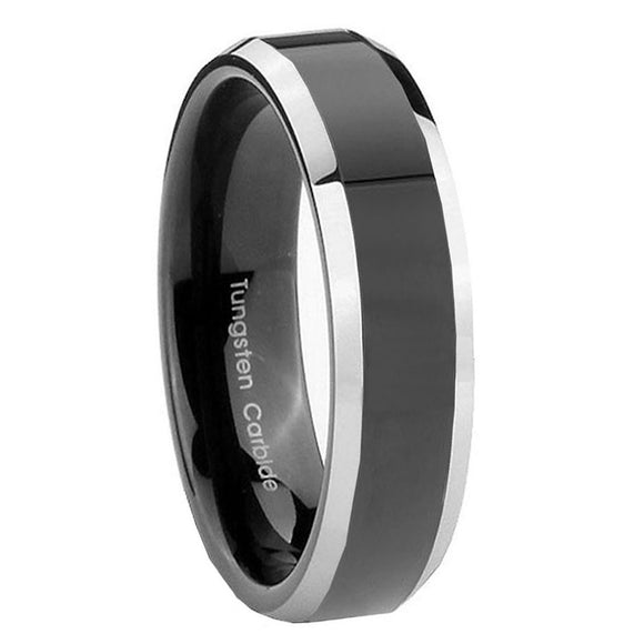 5MM Tungsten Carbide Two Tone Black Beveled Edge Women Bands Ring