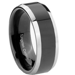 8MM Tungsten Carbide Black Two Tone Shiny Beveled Edges Men Bands Ring