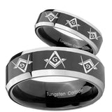 His Hers Master Mason Masonic  Beveled Glossy Black 2 Tone Tungsten Bands Ring Set