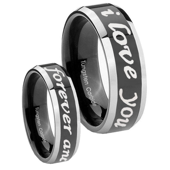 10mm I Love You Forever and ever Beveled Glossy Black 2 Tone Tungsten Bands Ring