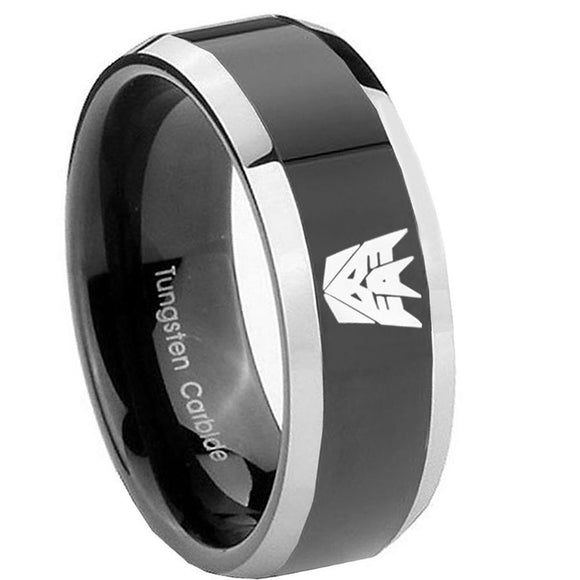 8mm Decepticon Transformers Beveled Glossy Black 2 Tone Tungsten Mens Ring