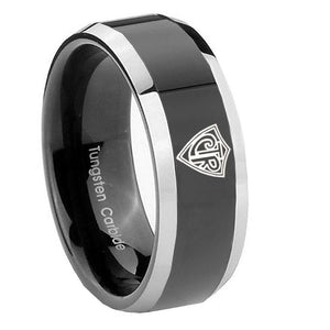 10mm CTR Beveled Edges Glossy Black 2 Tone Tungsten Carbide Mens Wedding Band