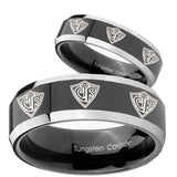 His Hers Multiple CTR Beveled Edges Glossy Black 2 Tone Tungsten Engraved Ring Set