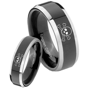 His Hers Skull Beveled Edges Glossy Black 2 Tone Tungsten Mens Wedding Band Set