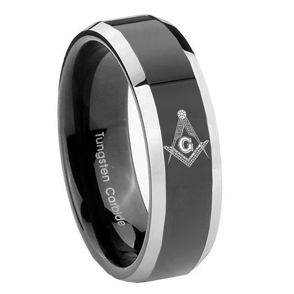 8mm Master Mason Masonic Beveled Glossy Black 2 Tone Tungsten Wedding Band Mens
