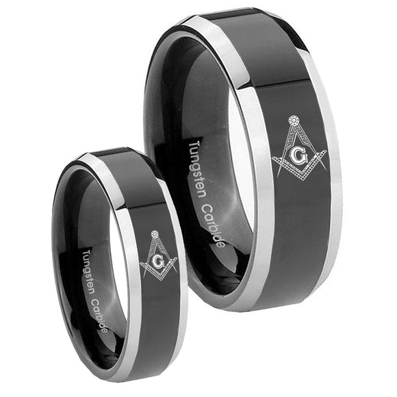 His Hers Master Mason Masonic Beveled Glossy Black 2 Tone Tungsten Men's Ring Set