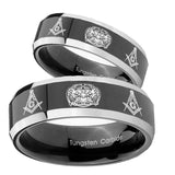 His Hers Masonic 32 Design Beveled Glossy Black 2 Tone Tungsten Rings Set