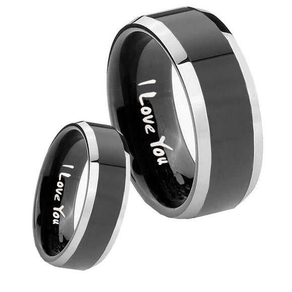 His Hers I Love You Beveled Glossy Black 2 Tone Tungsten Men's Band Set