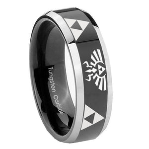 8mm Legend of Zelda Beveled Glossy Black 2 Tone Tungsten Wedding Engagement Ring
