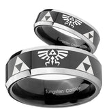 His Hers Legend of Zelda Beveled Glossy Black 2 Tone Tungsten Men's Ring Set