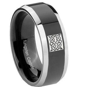 10mm Celtic Design Beveled Glossy Black 2 Tone Tungsten Men's Promise Rings