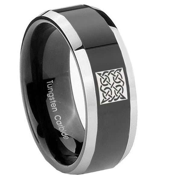 8mm Celtic Design Beveled Edges Glossy Black 2 Tone Tungsten Wedding Band Ring