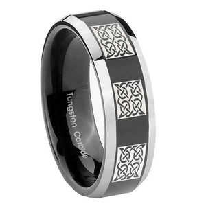 8mm Multiple Celtic Beveled Glossy Black 2 Tone Tungsten Wedding Bands Ring