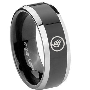 10MM Beveled Two Tone Mass Effect Shiny Black Middle Tungsten Men's Ring