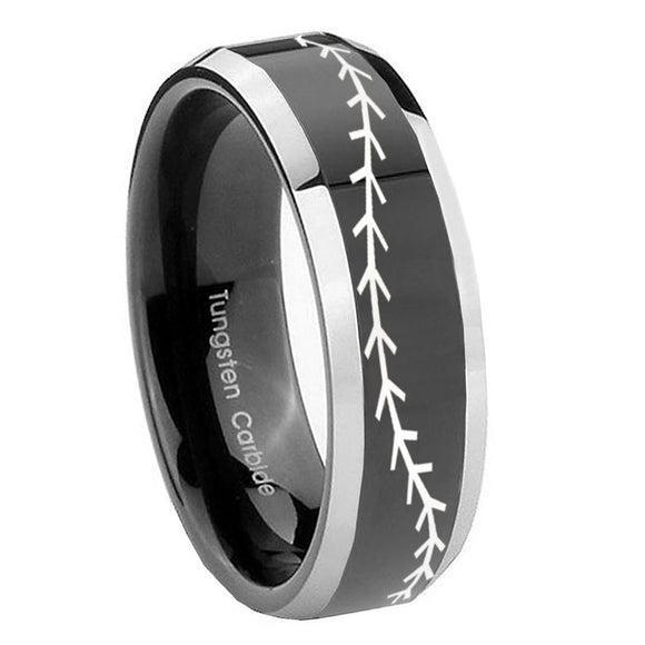 10mm Baseball Stitch Beveled Glossy Black 2 Tone Tungsten Custom Ring for Men