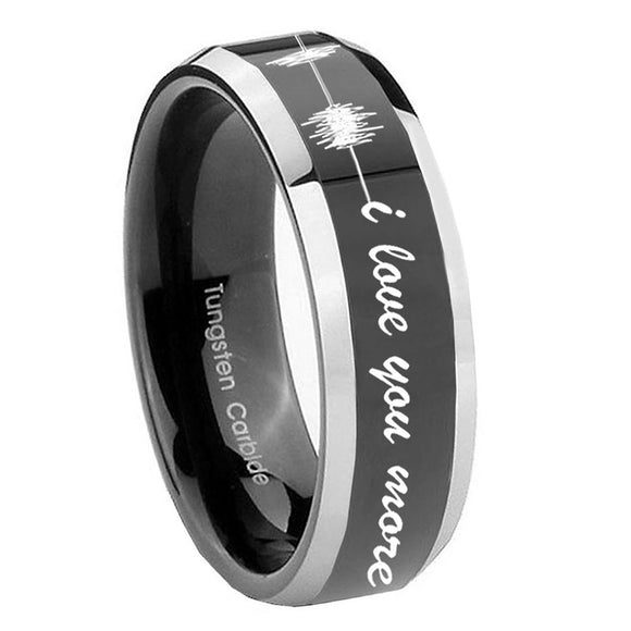 10mm Sound Wave I love you more Beveled Glossy Black 2 Tone Tungsten Mens Ring