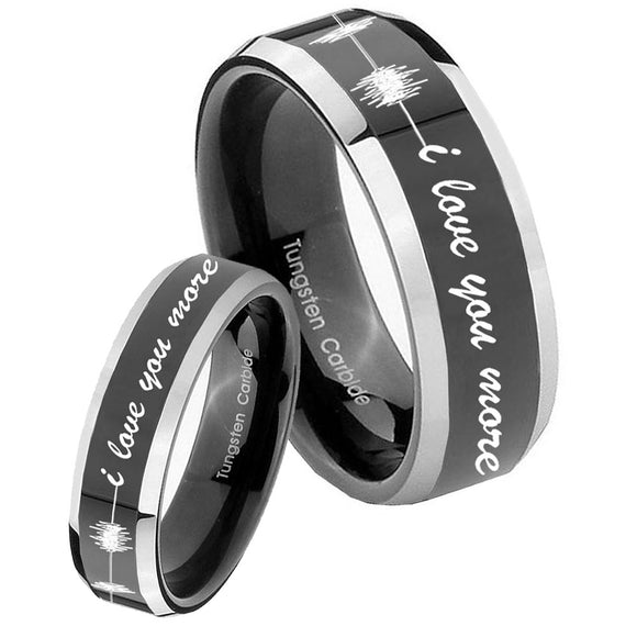 His Hers Sound Wave, I love you more Beveled Glossy Black 2 Tone Tungsten Mens Ring Set