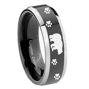 8mm Bear and Paw Beveled Edges Glossy Black 2 Tone Tungsten Mens Wedding Ring