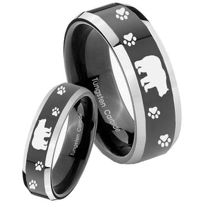 His Hers Bear and Paw Beveled Glossy Black 2 Tone Tungsten Engagement Ring Set
