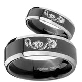 His Hers Dragon Beveled Edges Glossy Black 2 Tone Tungsten Men's Bands Ring Set