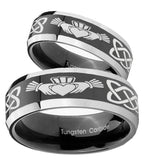 His Hers Irish Claddagh Beveled Edges Glossy Black 2 Tone Tungsten Engraved Ring Set