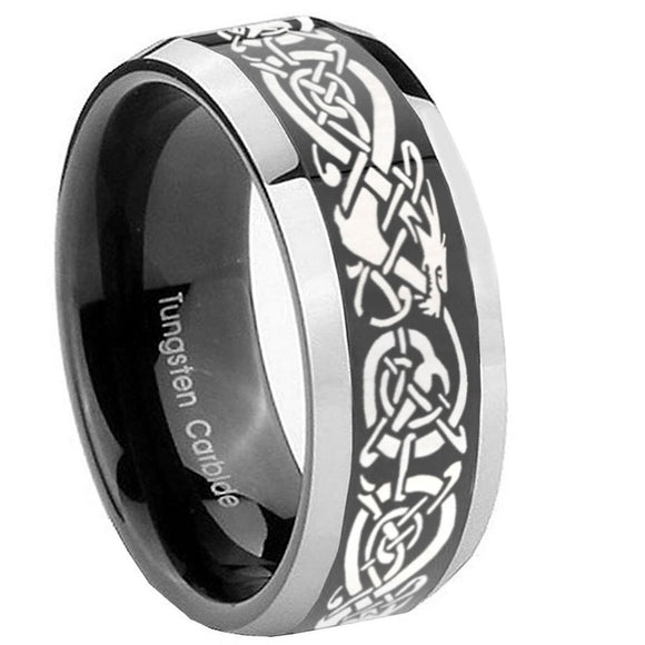 8mm Celtic Knot Dragon Beveled Glossy Black 2 Tone Tungsten Men's Wedding Band