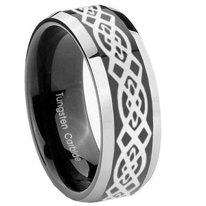 10mm Celtic Knot Beveled Edges Glossy Black 2 Tone Tungsten Mens Wedding Band
