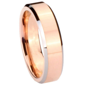 5MM Tungsten Carbide Rose Gold IP Beveled Silver Edges Women Ring