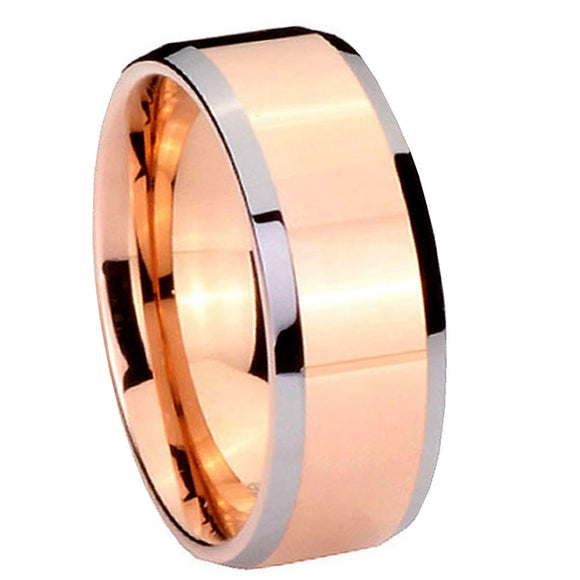 8MM Tungsten Carbide Rose Gold IP Beveled Silver Edges Men Bands Ring