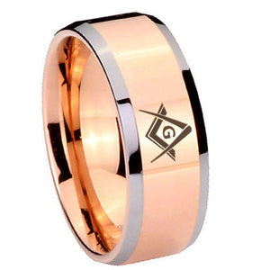 8mm Freemason Masonic Beveled Edges Rose Gold Tungsten Carbide Men's Ring
