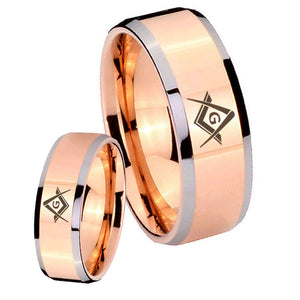 His Hers Freemason Masonic Beveled Edges Rose Gold Tungsten Mens Band Set
