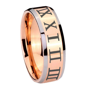 10mm Roman Numeral Beveled Edges Rose Gold Tungsten Carbide Promise Ring