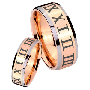 His Hers Roman Numeral Beveled Edges Rose Gold Tungsten Mens Wedding Ring Set
