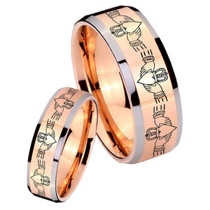 His Hers Irish Claddagh Beveled Edges Rose Gold Tungsten Men's Wedding Ring Set
