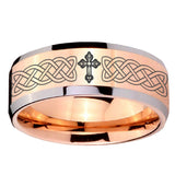 10mm Celtic Cross Beveled Edges Rose Gold Tungsten Carbide Wedding Band Mens