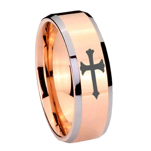 10mm Christian Cross Beveled Edges Rose Gold Tungsten Carbide Anniversary Ring