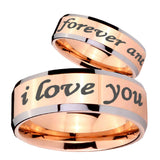 10mm I Love You Forever and ever Beveled Edges Rose Gold Tungsten Bands Ring