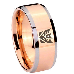 10mm Decepticon Transformers Beveled Edges Rose Gold Tungsten Men's Bands Ring