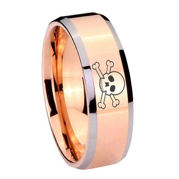 10mm Skull Beveled Edges Rose Gold Tungsten Carbide Men's Engagement Band