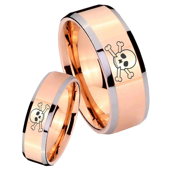 His and Hers Skull Beveled Edges Rose Gold Tungsten Mens Bands Ring Set