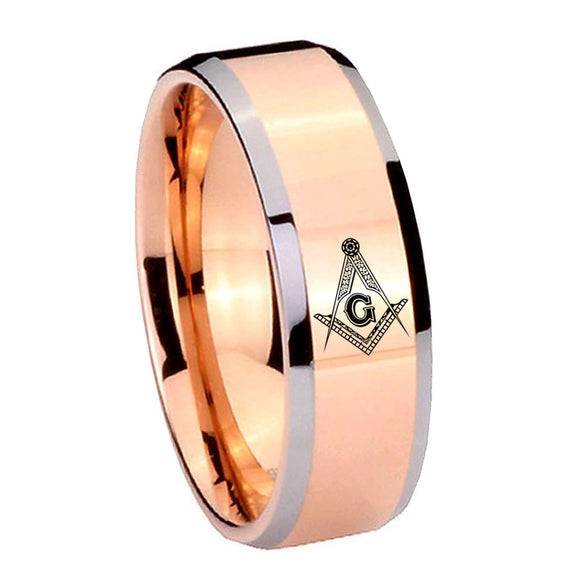 10mm Master Mason Masonic Beveled Rose Gold Tungsten Men's Engagement Band