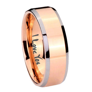 10mm I Love You Beveled Edges Rose Gold Tungsten Carbide Men's Engagement Ring