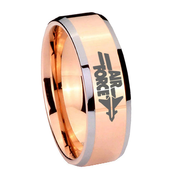 10MM Beveled Air Force Rose Gold IP 2 Tone Tungsten Carbide Men's Ring