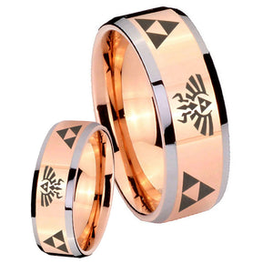 His Hers Legend of Zelda Beveled Edges Rose Gold Tungsten Personalized Ring Set