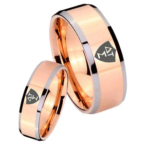 His Hers Greek CTR Beveled Edges Rose Gold Tungsten Custom Mens Ring Set