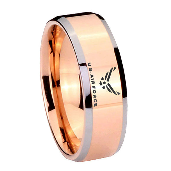 10MM Beveled US Air Force Rose Gold IP 2 Tone Tungsten Carbide Men's Ring